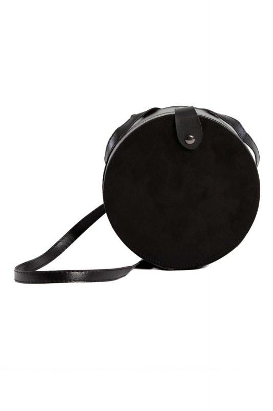 غطاء منسدل ، حقيبة كتف دائرية (أسود)