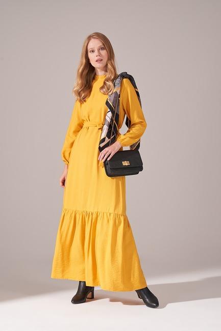Aerobin Kuşaklı Uzun Elbise (Sarı) - Thumbnail