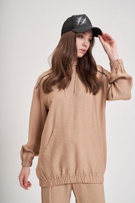 Aerobin Taş Şeritli Sweatshirt (Camel) - Thumbnail