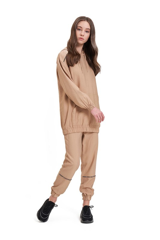 Aerobin Taş Şeritli Sweatshirt (Camel)