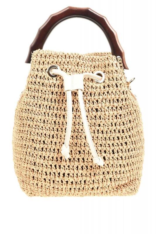 حقيبة يد الحياكة مع مقبض الخشب (البيج)