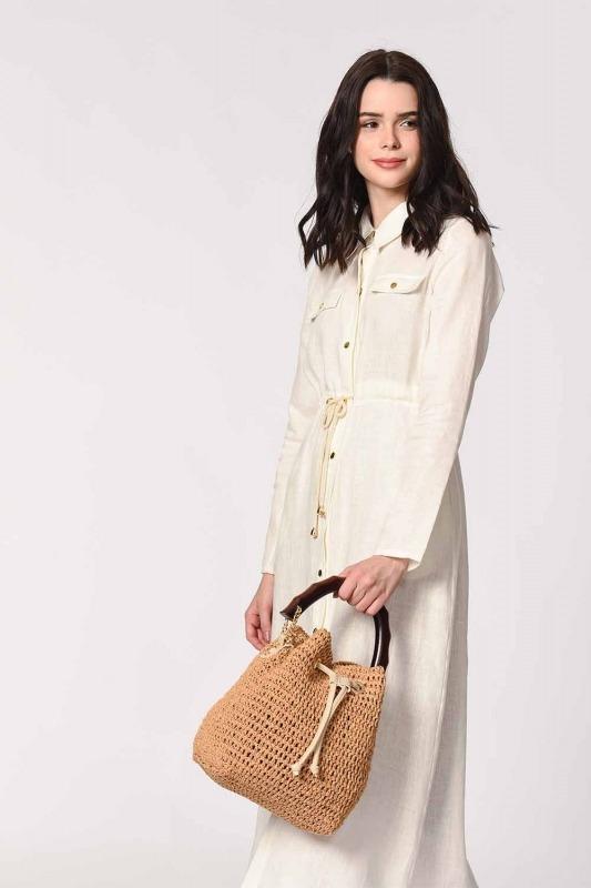 Wood Handle Knitting Hand Bag (Beige)