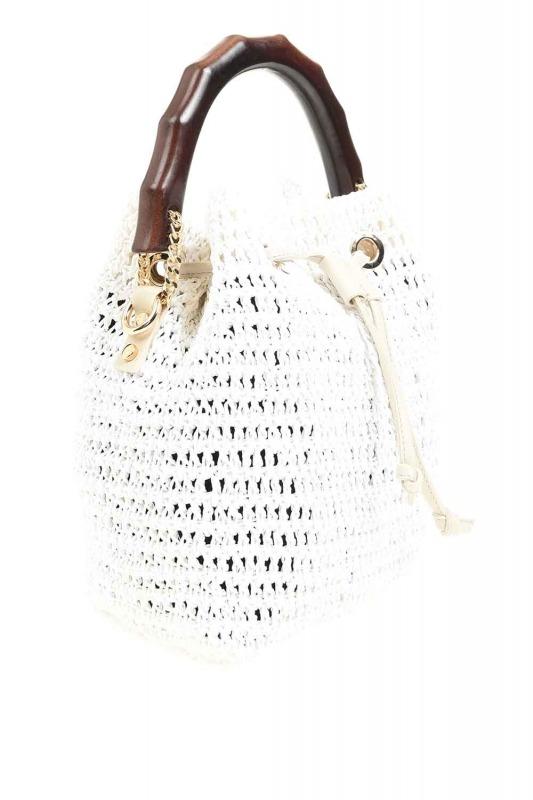 حقيبة يد متماسكة بمقبض خشبي (أبيض)