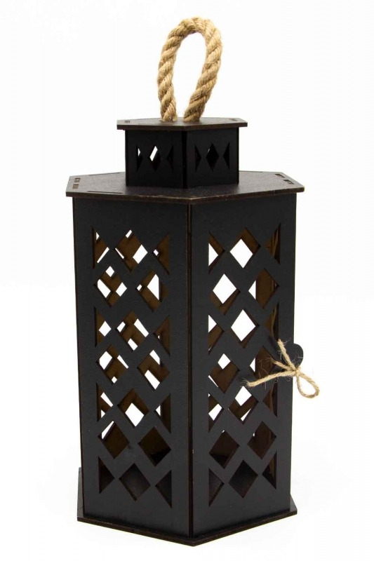 Hexagonal Shape Wooden Lantern (Black)