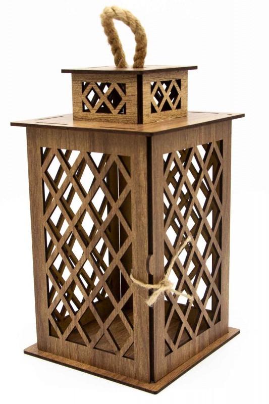 Square Shape Wooden Lantern (Cream)