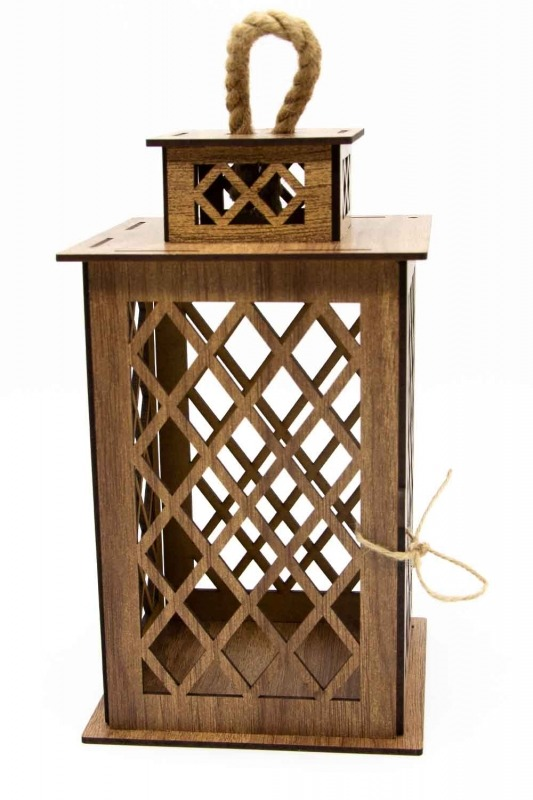 Square Shape Wooden Lantern (Cream)