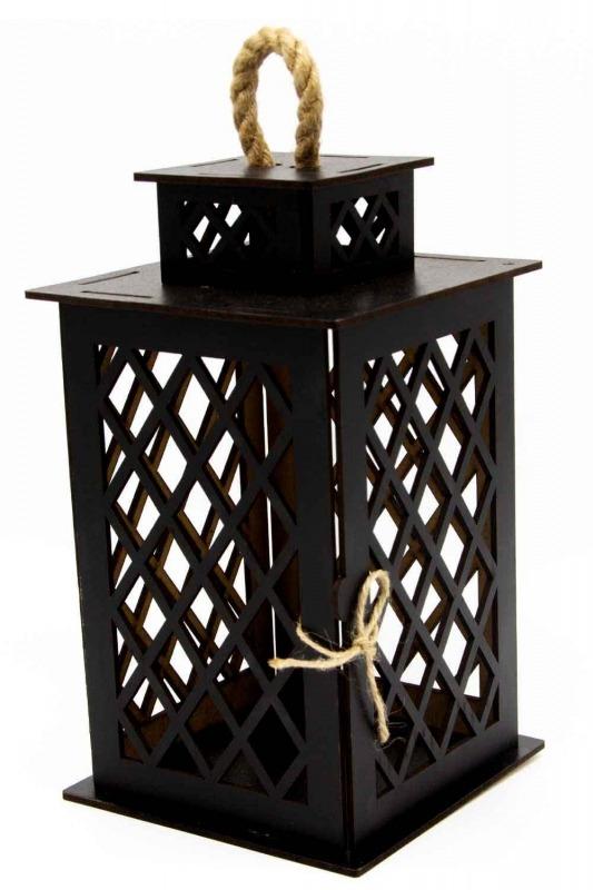 Square Shape Wooden Lantern (Black)