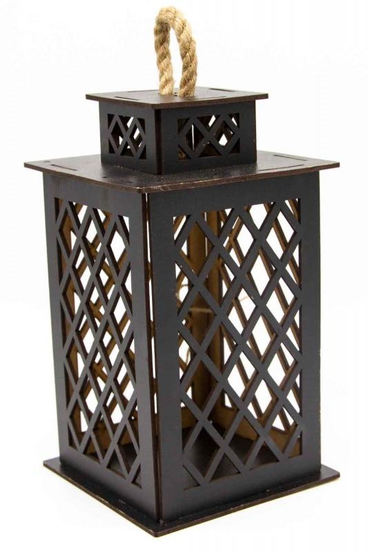 Square Shape Wooden Lantern (Wenge)