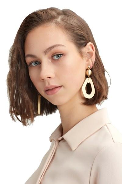 Wooden Pendant Earrings (Gold)