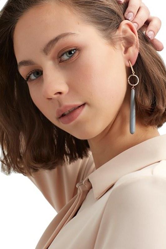 Wooden Pendant Earrings (Grey)