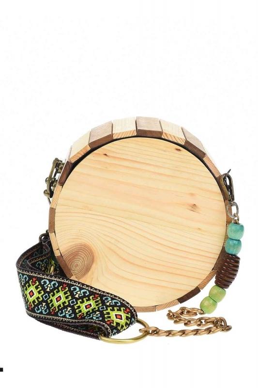 Round Form Wooden Arm Bag (Beige)