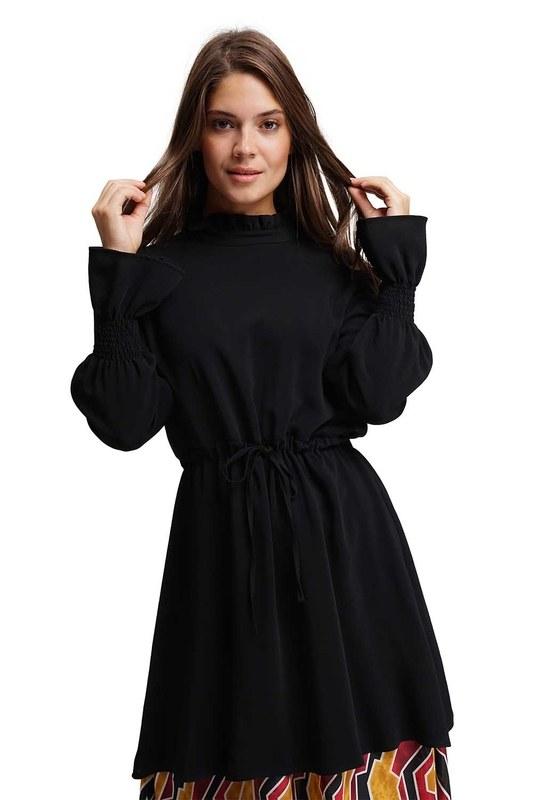 Altı Desenli Uzun Elbise (Siyah)