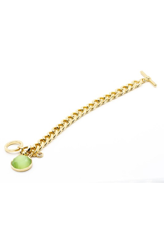 Altın Kaplama Taşlı Bileklik (Yeşil)