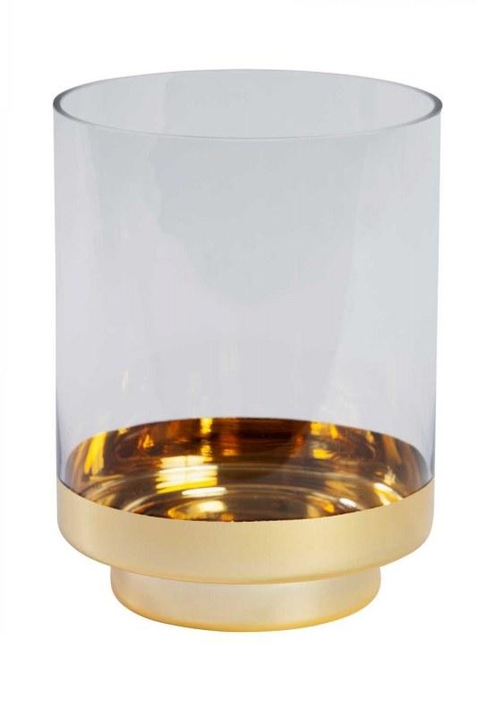 Altın Rengi Standlı Cam Mumluk (Büyük)