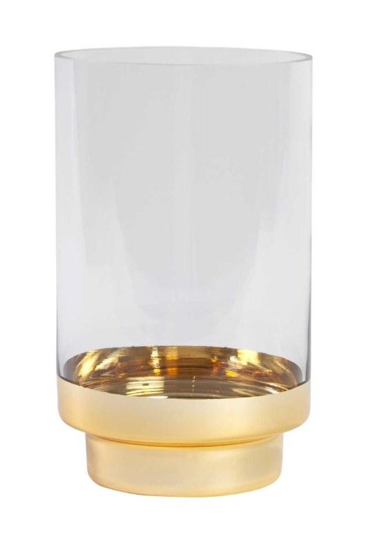 Altın Rengi Standlı Cam Mumluk (Küçük)