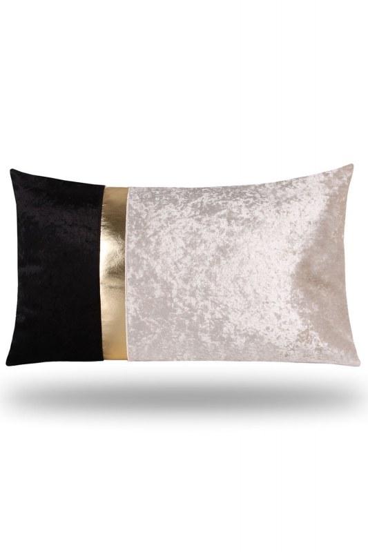 Altın Şeritli Kadife Yastık Kılıfı (35X60)