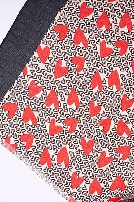 شال منقوش على شكل قلب (أسود) - Thumbnail