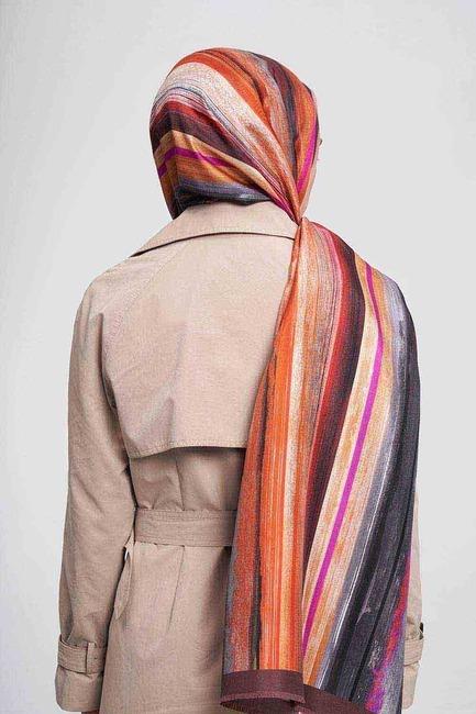 شال حريري بألوان الباستيل(برتقالي) - Thumbnail