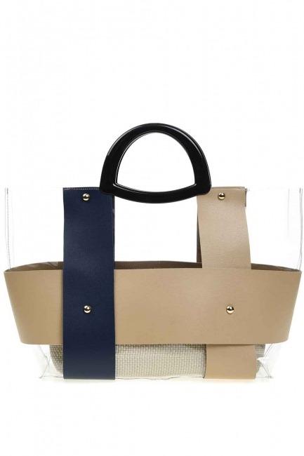 حقيبة يد شفافة مع مقبض بلاستيكي (أزرق داكن) - Thumbnail