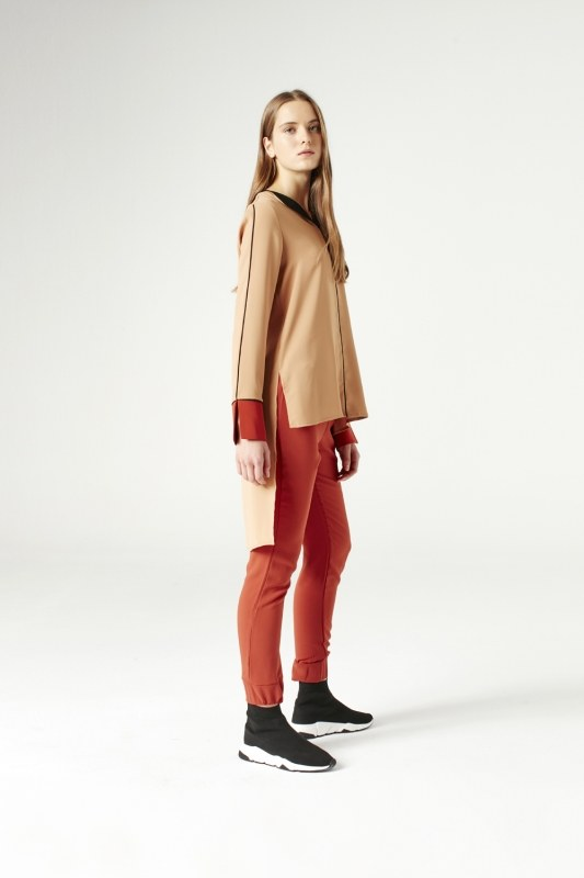 Asymmetric Blouse (Brick Red)