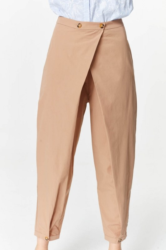 Asymmetric Detailed Trousers (Camel)