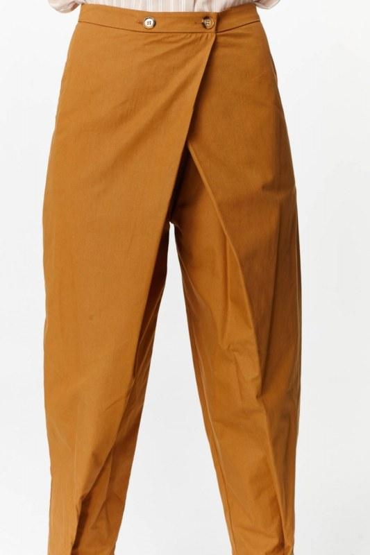 Asimetrik Detaylı Pantolon (Hardal)