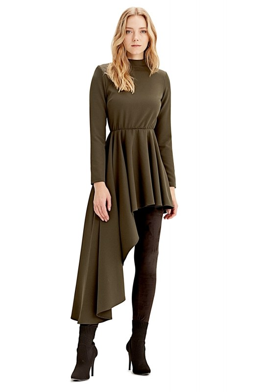 Asymmetric Dress Tunic (Khaki)