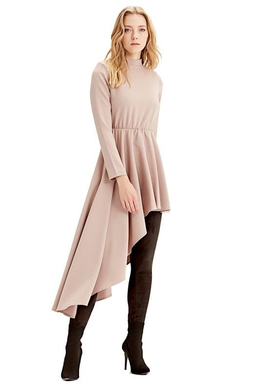 فستان تونيك بخطوط غير متماثلة(حجري)