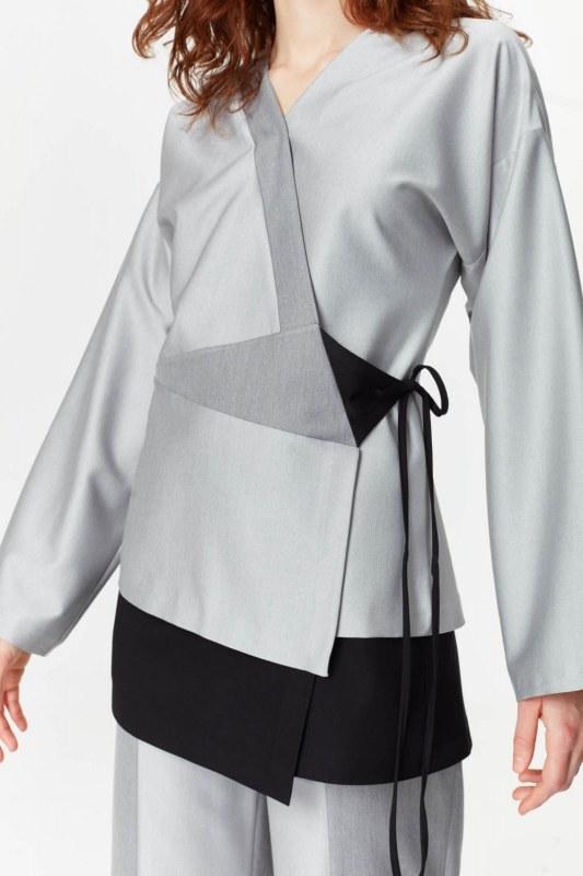 Asimetrik Kapamalı Ceket (Gri)
