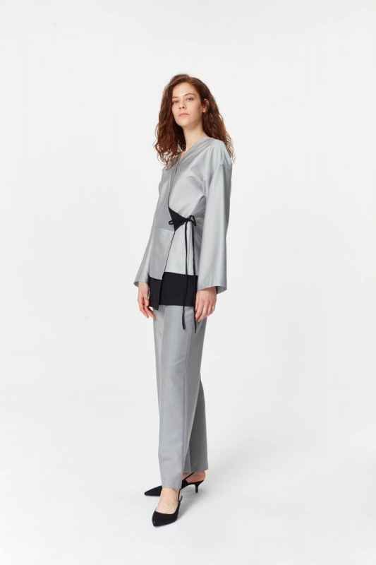 Asymmetrical Detailed Jacket (Grey)