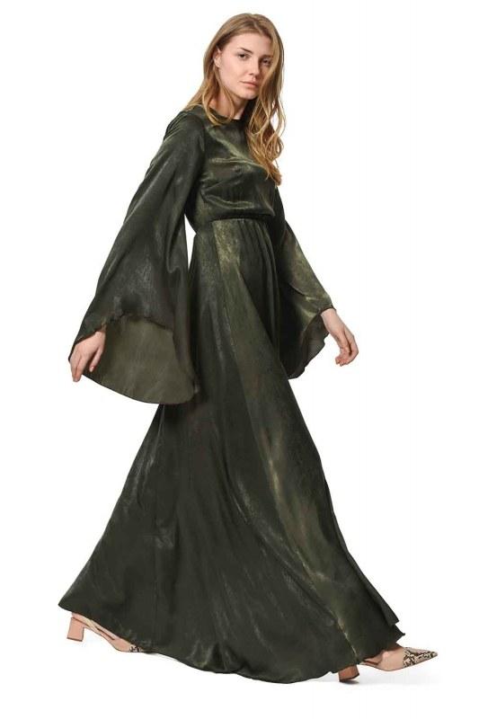 فستان بـأكمام غير متماثلة الشكل (كاكي)