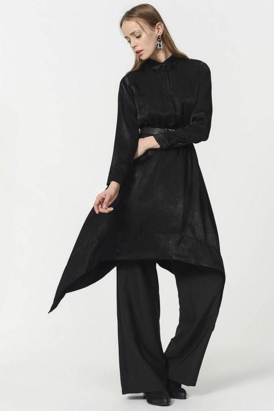 Asymmetric Tunic Shirt (Black)