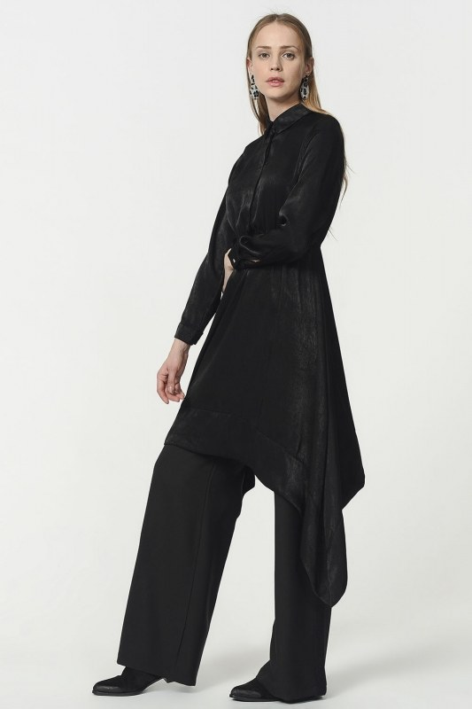Asymmetric Tunic Shirt (Black)