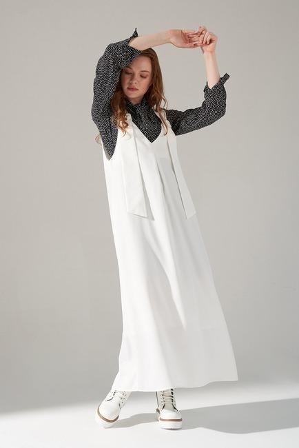 Askılı Jile Elbise (Ekru) - Thumbnail
