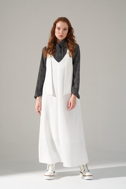 Askılı Jile Elbise (Ekru)