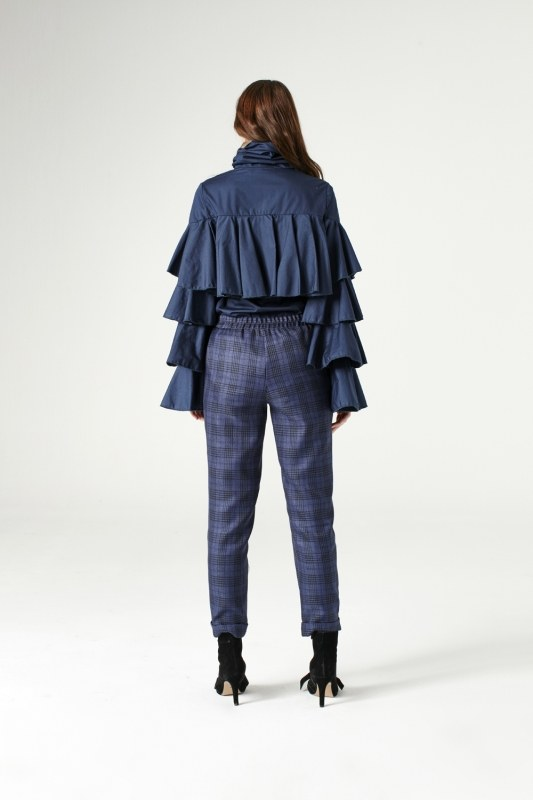 Plaid Lace Trousers (Indigo)