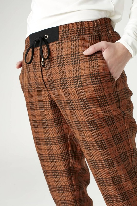 Laced Plaid Pants (Brown)