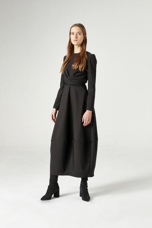 Balloon Skirted Dress (Black)