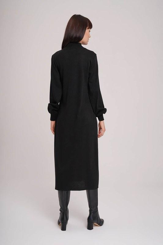 Balon Kol Triko Elbise (Siyah)