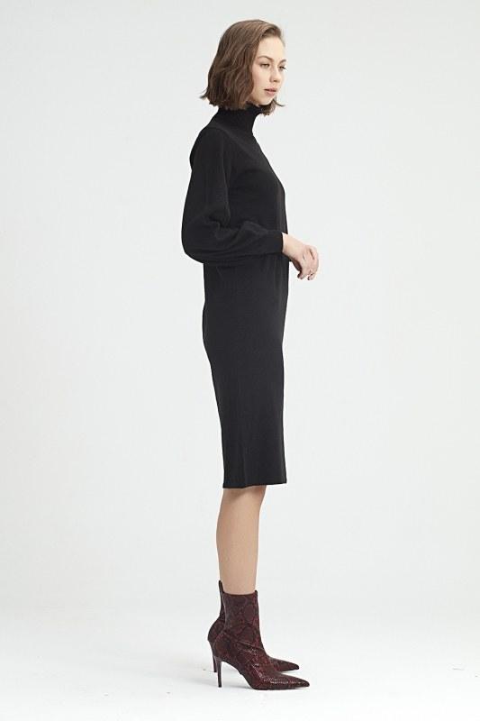 Balloon Sleeve Tricot Dress (Black)