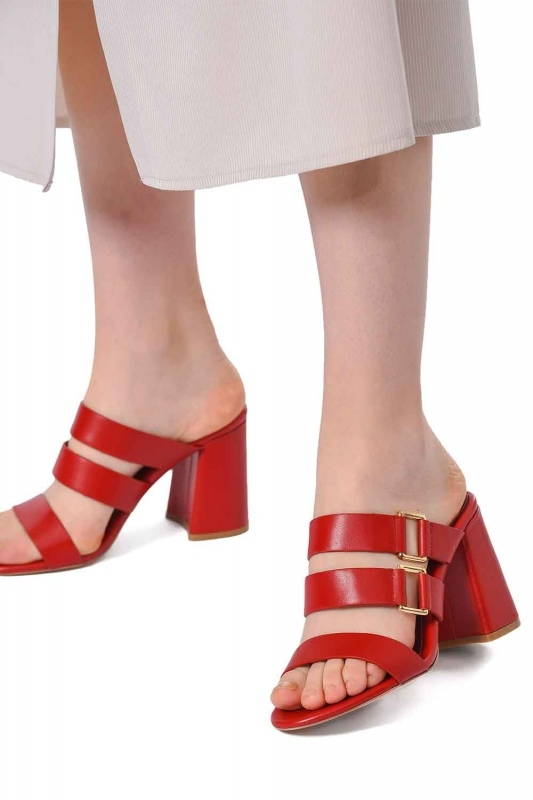 Banded Leather Shoes (Red)