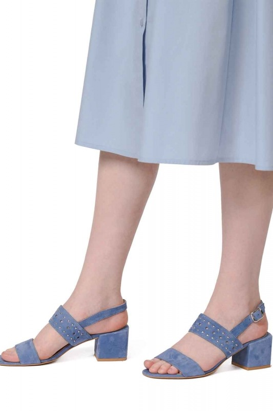 Banded Suede Leather Shoes (Blue)