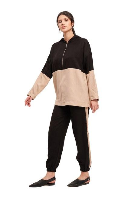 Basic Bağcıklı Salaş Pantolon (Bej) - Thumbnail