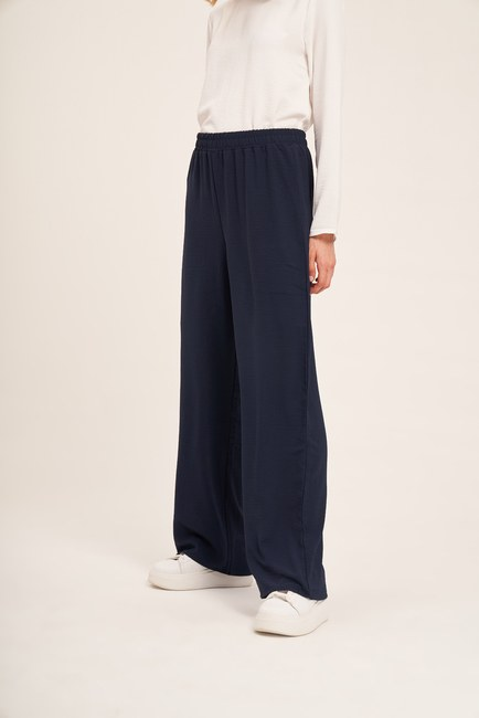 Basic Beli Lastikli Pantolon (Lacivert) - Thumbnail