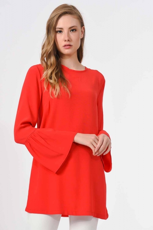 Basic Handle Flywheel Blouse (Coral)