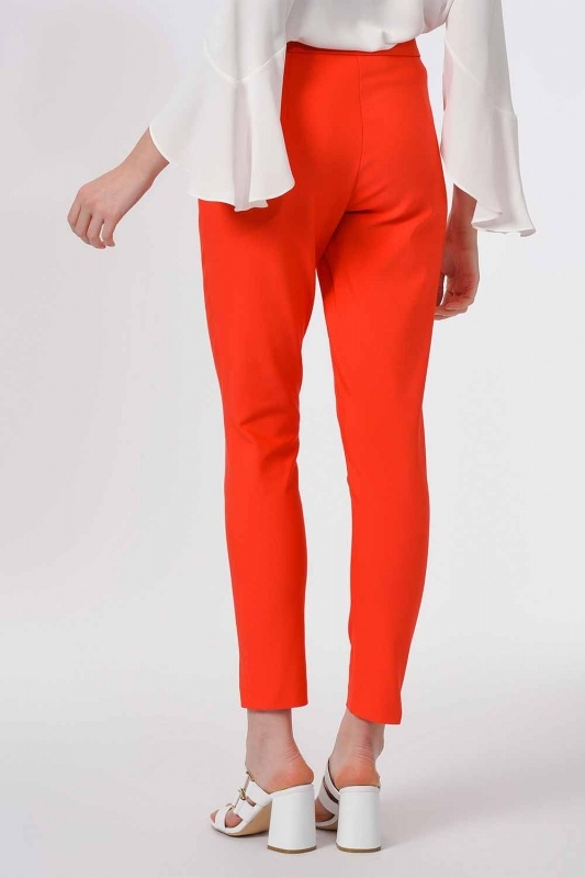 Basic Narrow Trousers (Orange-Red)