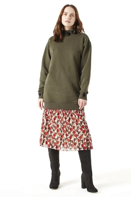 Payet Detaylı Sweatshirt (Haki)