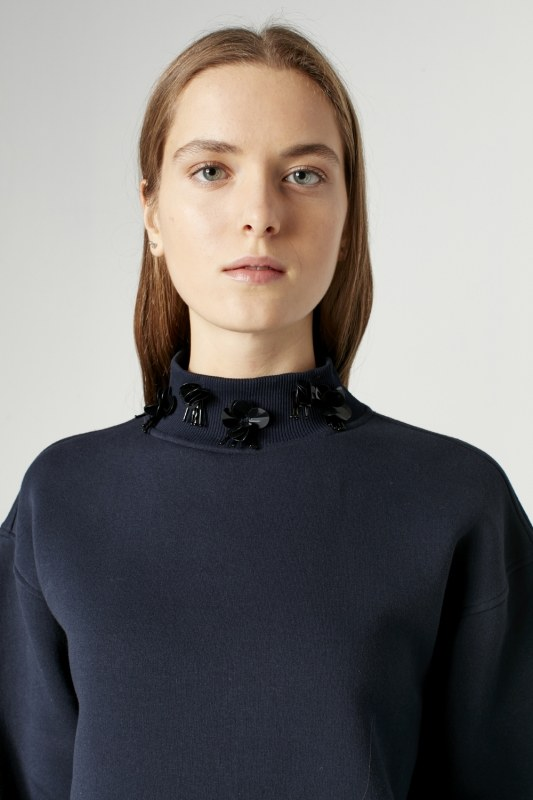 Sequin Detailed Sweatshirt (Dark Blue)