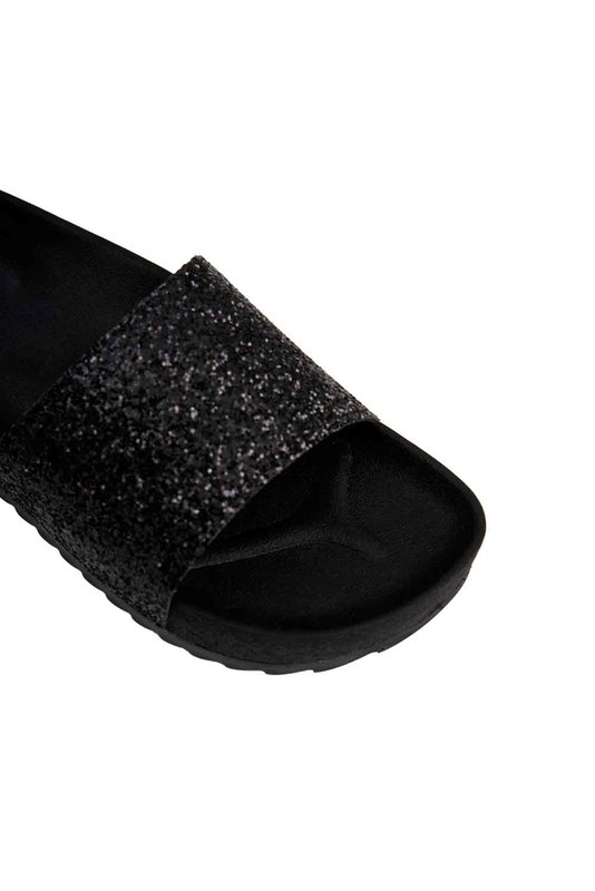 Soft Sole Slippers (Black Sequins)