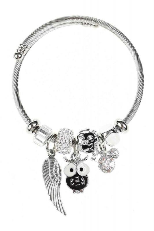 Baykuş Detaylı Pandora Bileklik (Siyah)